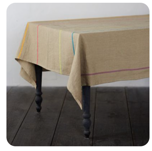 "Natural Linen Rainbow Tablecloth 63""x126"""