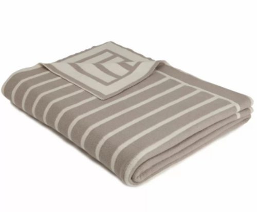 Beach Stripes Knitted Throw - Stone