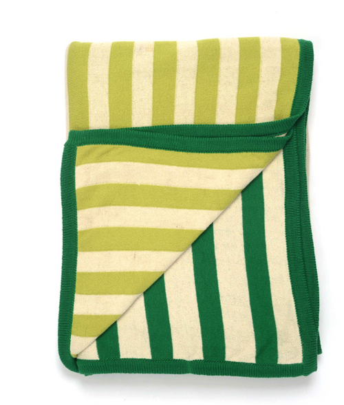Beach Stripes Knitted Throw - Green