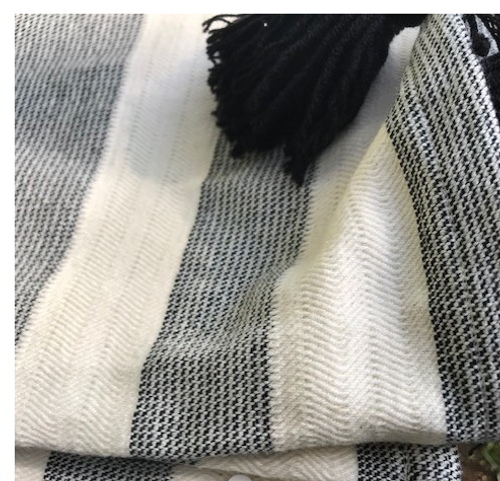 Striped Throw with black tassels