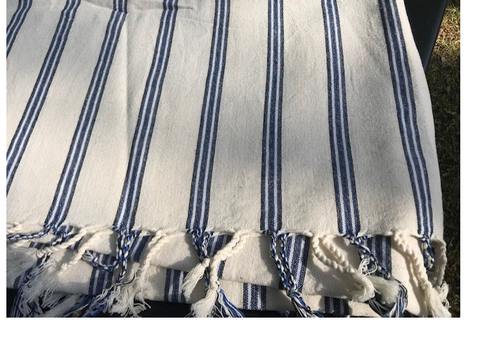 White and Blue Striped Throw