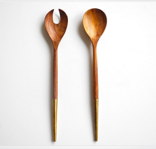 Hand Crafted Salad server, Wood with Copper Handle
