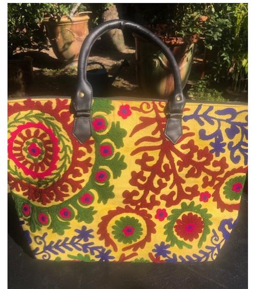 Embroidered Handbag, Yellow and Green