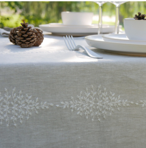 Reseda Linen Embroidered in White