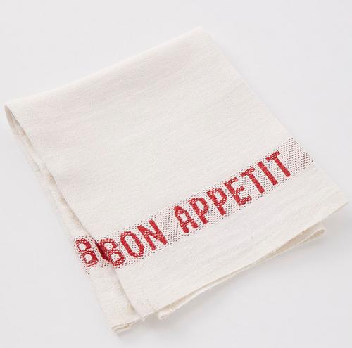 Bon Appetit Placemat / Napkin  - White Red