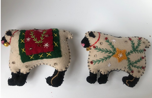 Embroidered Lamb Ornament, set of 2