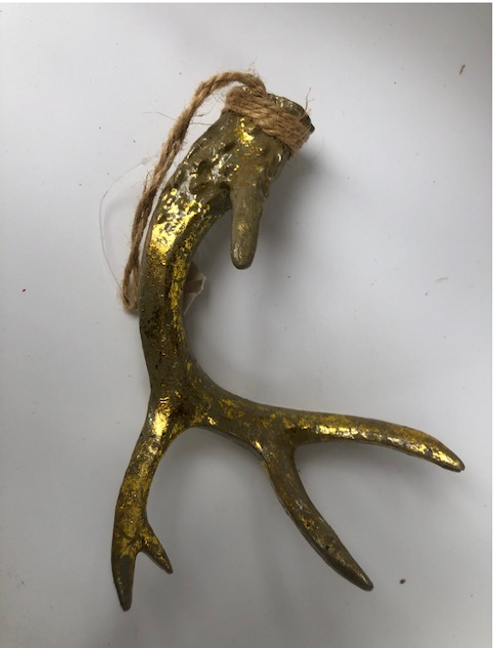 Gold Antler Ornament