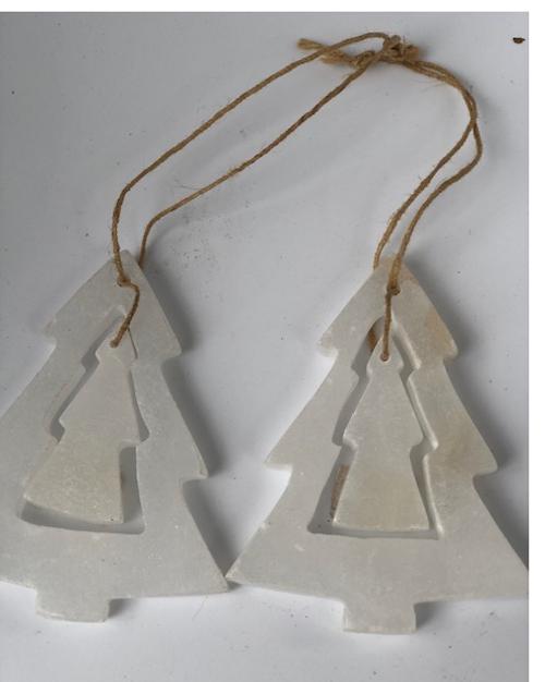 Marble Christmas Tree Ornament, Set of 2