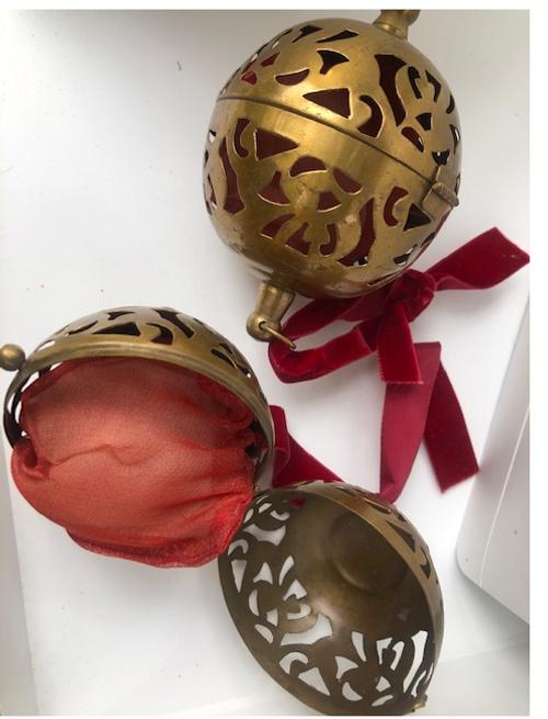 Copper Ball Ornament with Potpourri