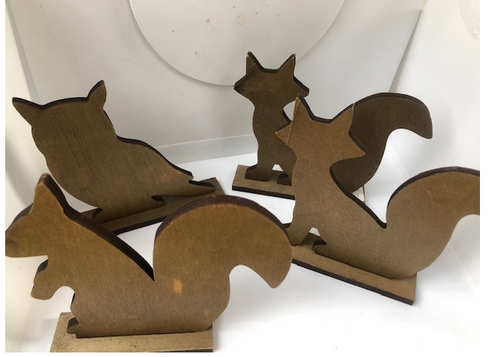Fox, Squirrel and Owl in Wood