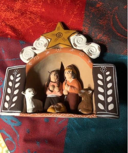 Miniature Terracotta Nativity Scene with Star