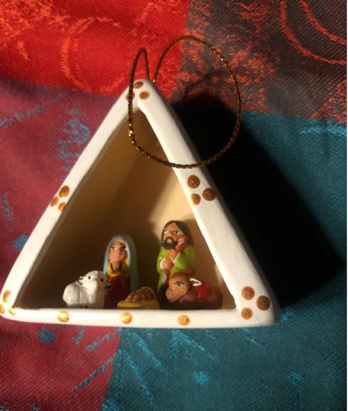 Miniature Nativity Scene Ornament - Triangle