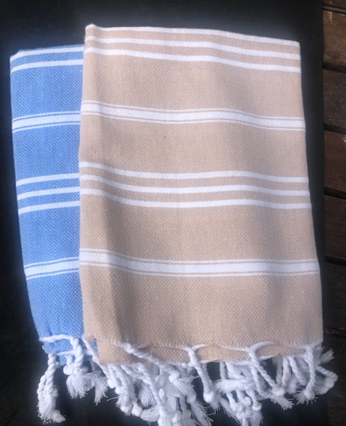 Hand Towels, Organic Cotton Blue or Beige Foutah