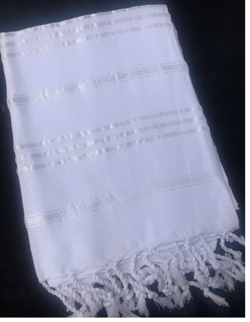 Hand Towel, Organic Cotton White Foutah