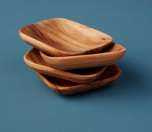 Small Teak Square Pinch Bowls, Set of 4
