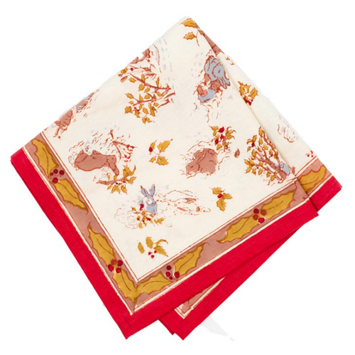 Lapin d'Hiver Red Napkins, Set of 6
