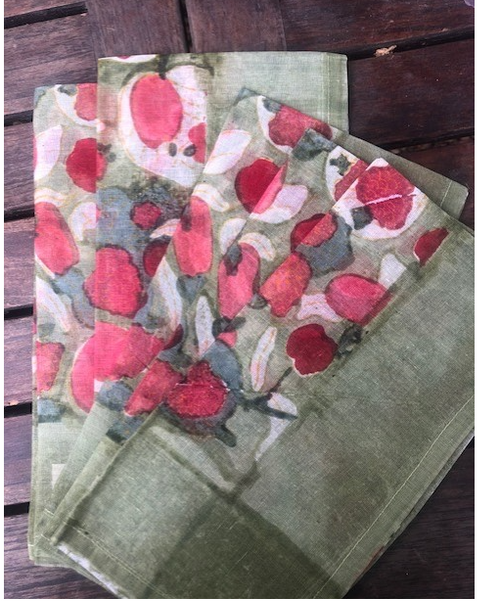 Fruit Red/green Cotton Organza Napkins, Set of 6