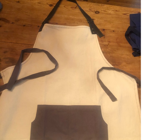 Apron with Black Pocket and Leather Strap
