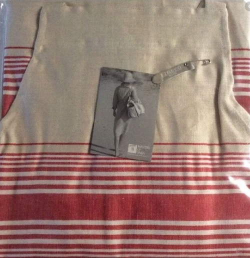 Linen Apron with Red Stripes