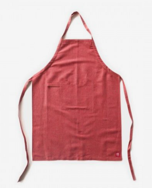 Apron Cotton and Linen Blend, Red or Natural Linen color