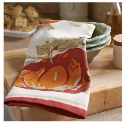 Pumpkin Kitchen Towel with Red Border