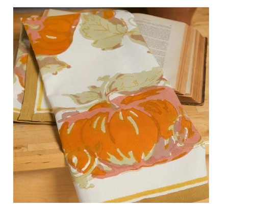 Pumpkin Kitchen Towel with Green Border