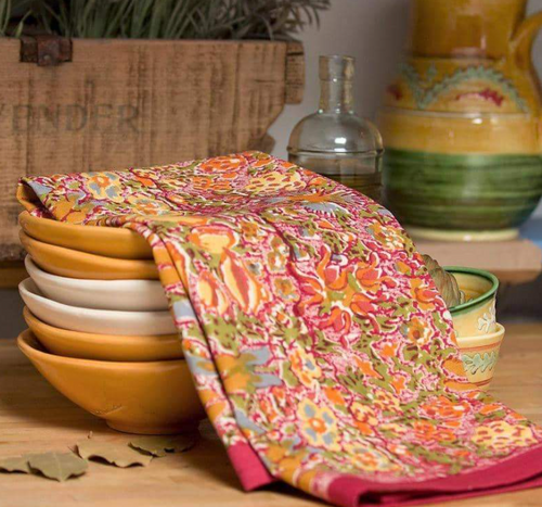Jardin Red Yellow Kitchen Towel