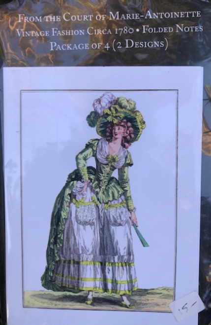 Folded Notes Cards, Package of 4, Marie-Antoinette Orange Dress