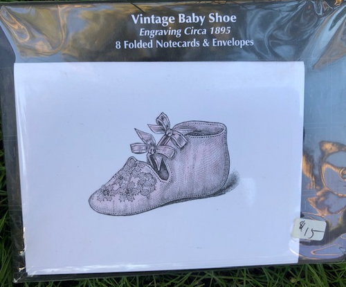Baby Shoe, 8 Folded Notecards and Envelopes