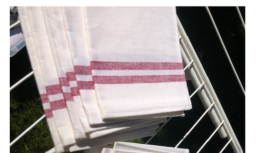 White Kitchen Towel with Red Stripes