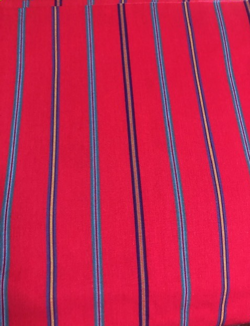 """Red Tablecloth with Stripes  56"""" x 84"""""""