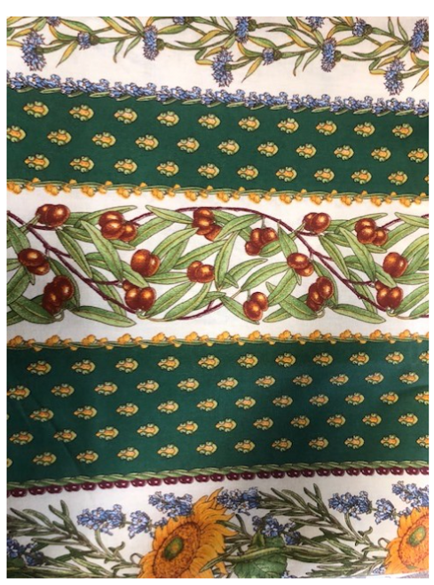 "Provence Tablecloth Green with Sunflowers and Olives 58"" x 120"""