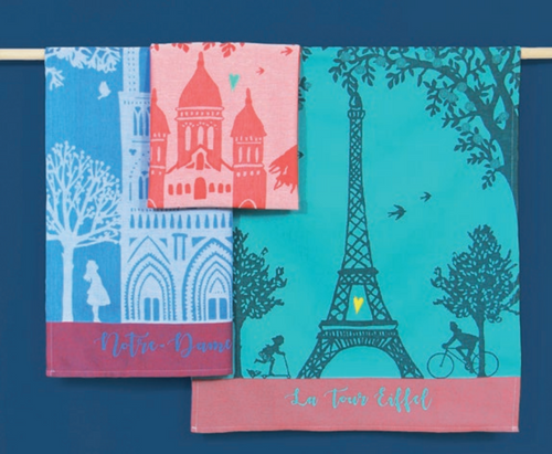 Effeil Tower with a Heart  Kitchen Towel