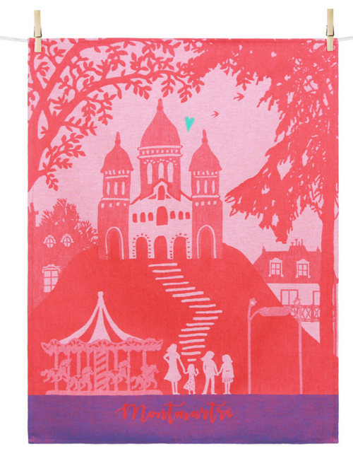 Montmartre with a Heart Kitchen Towel