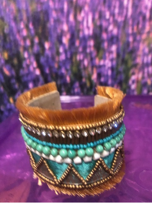 Bead Bracelet  Turquoise and Gold