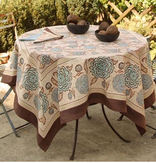 Dahlia Blue and Brown Tablecloth, Square