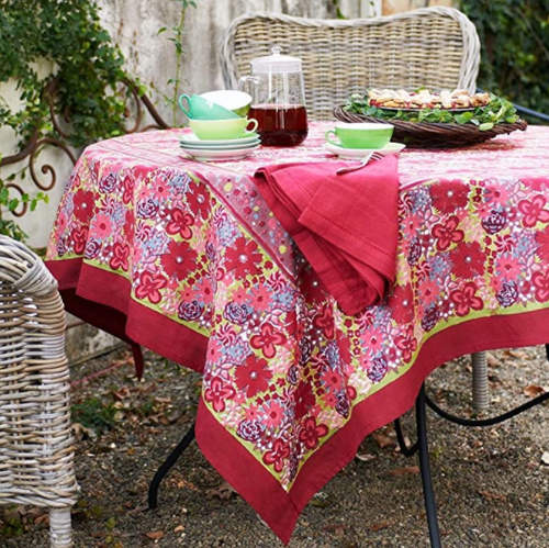 "Candy Red Green Tablecloth, Square 71"" x 71"""