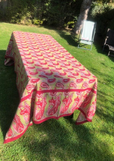 Paisley Red Green Tablecloth