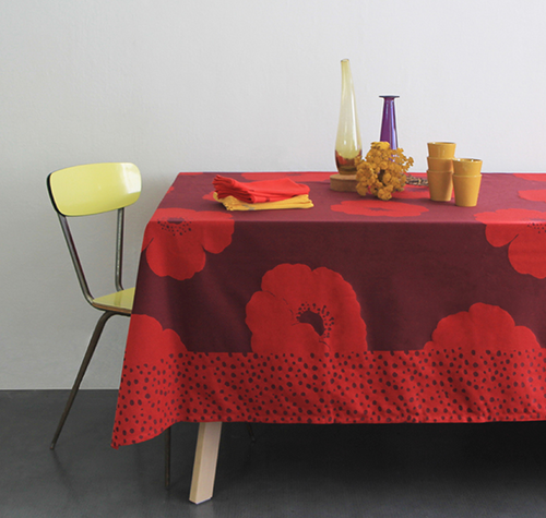 "Anemone Red Flower Tablecloth 47"" x 47"""