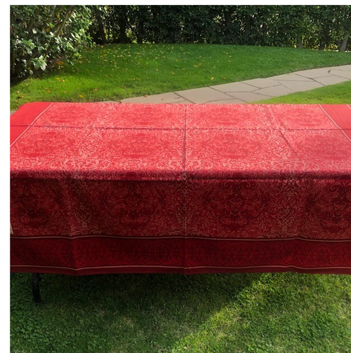 "Red Geometric Tablecloth, Square 65"" x 65"""