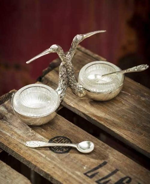 Salt and Pepper Holder with Spoon, Stork, Silver