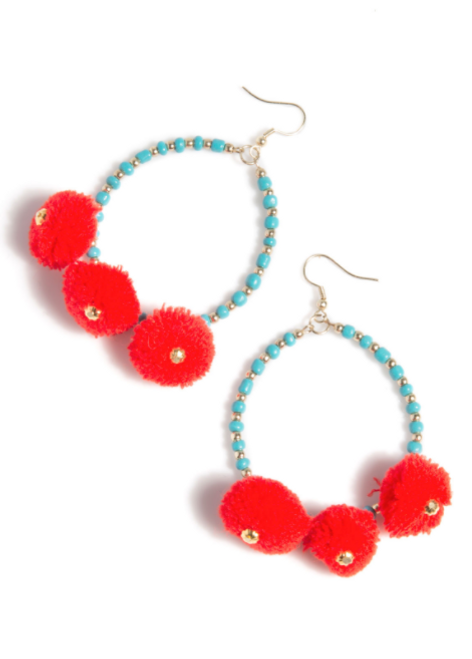 Turquoise and Orange Earrings