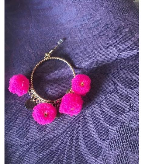 Pink Pom Pom Earrings with Hoop