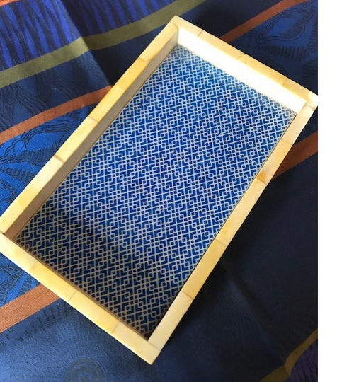 Yellow and Blue Horn Tray