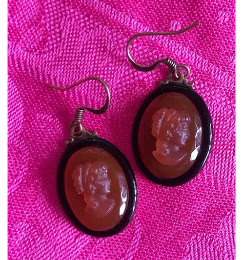 Cameo Earring with Orange Semi Precious Stone