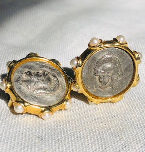 Roman Coin Earring with Pearls