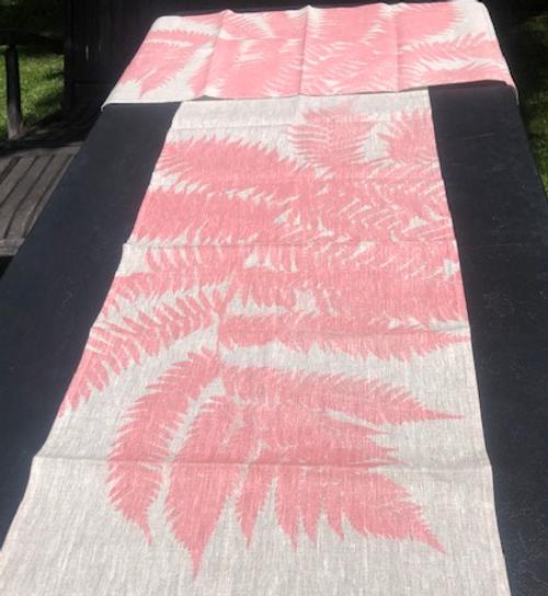 Pink Fern Runner on Linen