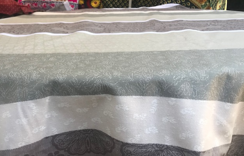 Grey White Beige Stripes Coated Tablecloth