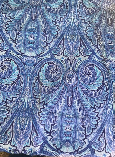 Blue Paisley Coated Tablecloth