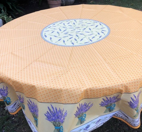 """Yellow Lavender Coated Tablecloth  70"""" Round"""